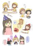 /\/\/\ 5girls :d :o =3 ^_^ animal_print apron bag bang_dream! bangs bd_ayknn birthday_cake birthday_party black_choker black_hair black_shirt blue_headwear blush bowl box brown_hair bunny_print cake choker closed_eyes cup flying_sweatdrops food gift gift_box green_eyes hair_flaps hair_ornament hamburger_steak hanazono_tae hat head_scarf highres holding holding_plate ichigaya_arisa jewelry long_hair long_sleeves mug multiple_girls necklace notice_lines o_o obentou open_mouth paper_bag party_hat pink_shirt plate pom_pom_(clothes) ponytail poppin'party shirt short_hair smile spoken_object star star_hair_ornament strawberry_shortcake sweatdrop tasting toyama_kasumi translation_request ushigome_rimi v-shaped_eyebrows white_background x_hair_ornament yamabuki_saaya yellow_apron yellow_shirt |_|