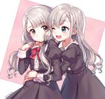 2girls bangs black_dress blue_eyes bow braid dress earrings grey_eyes grey_hair hand_on_shoulder highres hisakawa_hayate hisakawa_nagi hug idolmaster idolmaster_cinderella_girls idolmaster_cinderella_girls_starlight_stage jewelry long_hair low_twintails multiple_girls open_mouth ribbon saekiyahiro siblings sisters twins twintails twitter_username white_background
