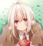 1girl apple bangs blurry blurry_background blush brown_cloak brown_neckwear cloak closed_mouth collared_shirt day depth_of_field eyebrows_visible_through_hair food fruit grass hair_between_eyes holding holding_food holding_fruit hood hood_down hooded_cloak light_brown_hair long_hair omuretsu original outdoors red_apple red_eyes shirt signature solo white_shirt