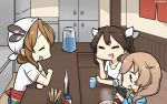3girls =_= alternate_costume apron bandanna braid brown_eyes brown_hair chopsticks closed_eyes commentary_request counter dated food glass hair_between_eyes hair_ribbon hamu_koutarou highres italia_(kantai_collection) kantai_collection light_brown_hair littorio_(kantai_collection) long_hair minegumo_(kantai_collection) multiple_girls noodles noren pitcher ramen red_eyes ribbon shirt sleeves_rolled_up tone_(kantai_collection) twin_braids twintails upper_body white_shirt