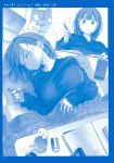 1girl 2koma absurdres ai-chan_(tawawa) blue_theme book braid breasts cellphone closed_eyes coat comic cup duffel_coat eraser getsuyoubi_no_tawawa highres himura_kiseki indoors instant_loss_2koma kotatsu large_breasts long_sleeves lying mechanical_pencil monochrome notebook on_back parted_lips pencil phone raincoat ribbed_sweater scan shirt short_hair sitting sleeping smartphone steam studying sweater table tablet_pc taut_clothes taut_shirt twin_braids under_kotatsu under_table v-shaped_eyebrows