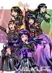 5girls black_hair brown_hair earphones flag ge_xi half_updo highres idol idol_group junna_(singer) long_hair macross macross_delta microphone multiple_girls music nishida_nozomi purple_hair real_life seiyuu seiyuu_connection singer singing suzuki_minori touyama_nao walkure_(macross_delta) yasuno_kiyono yellow_eyes