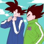 2boys =3 adjusting_clothes adjusting_collar black_eyes black_hair blue_coat blue_sky breath clouds cloudy_sky coat commentary_request covering covering_mouth day dragon_ball dragon_ball_super_broly expressionless fingernails frown green_coat hand_in_pocket light_smile looking_away looking_down male_focus multiple_boys outdoors pesogin profile sky smile son_gokuu spiky_hair standing steam upper_body vegeta winter winter_clothes winter_coat
