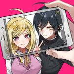 1boy 1girl ahoge akamatsu_kaede black_hair blonde_hair blush breasts camera cellphone collared_shirt danganronpa eyebrows_visible_through_hair eyelashes hair_ornament holding holding_phone light_blush long_sleeves looking_at_viewer musical_note musical_note_hair_ornament musical_note_print necktie new_danganronpa_v3 pale_skin phone pinstripe_pattern reaching_out saihara_shuuichi school_uniform self_shot shirt short_hair simple_background smartphone smile striped sweatdrop sweater_vest taking_picture tyyni v white_shirt yellow_eyes