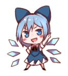 1girl :d arm_up bangs black_footwear black_neckwear black_ribbon blue_bow blue_dress blue_eyes blue_hair blush bow chibi cirno commentary_request dress full_body hair_bow hand_on_hip ice ice_wings index_finger_raised looking_at_viewer lowres neck_ribbon open_mouth pinafore_dress ribbon shoes short_hair simple_background smile snozaki solo standing touhou v-shaped_eyebrows white_background wings