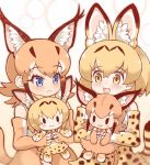 2girls :< :3 animal_ear_fluff animal_ears bare_shoulders black_hair blonde_hair blue_eyes blush bow bowtie caracal_(kemono_friends) caracal_ears caracal_tail center_frills character_doll elbow_gloves extra_ears eyebrows_visible_through_hair frown gloves high-waist_skirt kemono_friends light_brown_hair long_hair multicolored_hair multiple_girls open_mouth print_gloves print_neckwear print_skirt serval_(kemono_friends) serval_ears serval_print serval_tail short_hair sidelocks skirt sleeveless stuffed_toy tail tanaka_kusao yellow_eyes