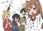 1girl 4boys amagi_ren arrow arrow_in_head blood chibi injury iwatani_naofumi kawasumi_itsuki kitamura_motoyasu masuji multiple_boys polearm raphtalia spear sword tate_no_yuusha_no_nariagari weapon white_background