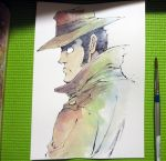 1boy agahari back black_hair brown_coat brush closed_mouth coat commentary fedora from_behind from_side hat lupin_iii photo profile sideburns simple_background solo traditional_media trench_coat upper_body watercolor_(medium) white_background zenigata_kouichi