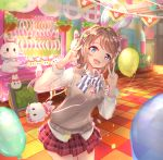 1girl 493water :d animal_ears arms_up bag balloon bangs basket blue_eyes bow bowtie breasts brown_hair contrapposto cowboy_shot double_v easter_egg egg fake_animal_ears hair_bow hairband handbag kiosk light_particles long_sleeves looking_at_viewer love_live! love_live!_sunshine!! medium_breasts miniskirt open_mouth petals plaid plaid_skirt rabbit_ears shirt short_hair skirt smile solo striped striped_neckwear stuffed_animal stuffed_bunny stuffed_toy sweater_vest swept_bangs tile_floor tiles untucked_shirt v watanabe_you white_shirt