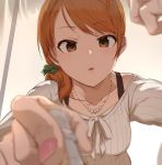 1girl alternate_hairstyle ao_(aocooler) blurry bow bra_strap brown_eyes brown_hair casual collarbone depth_of_field foreshortening hair_bow hands houjou_karen idolmaster idolmaster_cinderella_girls jewelry looking_at_viewer nail_polish necklace parted_lips ponytail ribbed_sweater solo sweater