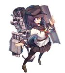 1girl ;) akatsuki_(kantai_collection) anchor anchor_symbol beize_(garbage) black_legwear blue_eyes blush brown_legwear cannon flat_cap from_above full_body hair_between_eyes hat index_finger_raised kantai_collection loafers long_hair looking_at_viewer machinery neckerchief one_eye_closed pantyhose purple_hair red_neckwear remodel_(kantai_collection) school_uniform serafuku shield shoes simple_background smile smokestack solo torpedo torpedo_launcher turret white_background