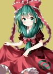 1girl bangs dress eyebrows_visible_through_hair frilled_ribbon frills front_ponytail green_background green_eyes green_hair hair_between_eyes hair_ribbon highres kagiyama_hina long_hair looking_at_viewer puffy_short_sleeves puffy_sleeves red_dress ribbon ruu_(tksymkw) short_sleeves simple_background skirt_hold smile solo touhou