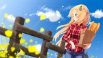 1girl ame. azur_lane bag baguette bangs black_ribbon blonde_hair blue_pants blue_sky blurry blurry_foreground blush bread cleveland_(azur_lane) closed_mouth clouds collared_shirt commentary_request day denim depth_of_field dress_shirt eyebrows_visible_through_hair fence flower food grocery_bag hair_ribbon holding holding_bag jeans long_hair looking_away looking_to_the_side one_side_up outdoors pants paper_bag petals plaid plaid_shirt profile red_eyes red_shirt ribbon shirt shopping_bag sky smile solo very_long_hair wind yellow_flower