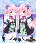 2boys ;d ankle_bow ankle_ribbon bangs between_legs black_bow black_footwear black_tail blue_sky bow capelet clouds cloudy_sky commentary_request company_name copyright_name cygames day demon_boy demon_horns demon_tail demon_wings dot_nose double-breasted flat_chest frilled_sleeves frills full_body fur-trimmed_capelet fur_trim gold_trim hand_holding heart heart-shaped_lock heart-shaped_pupils horns interlocked_fingers jumping legs legs_together light_blush logo long_hair looking_at_viewer male_focus multiple_boys official_art one_eye_closed open_mouth pantyhose pink_collar pink_hair pointy_ears raised_eyebrows reaching_out ribbon shingeki_no_bahamut short_hair sky smile striped symbol-shaped_pupils symmetry tail tail_between_legs take_your_pick thick_eyebrows trap v-shaped_eyebrows vertical_stripes watermark waving white_capelet white_legwear wings yuuhi_homare