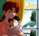 1boy 1girl ahoge baby black_hair blush brown_eyes closed_eyes collarbone creatures_(company) curtains deviantart game_freak gen_2_pokemon hanako_(pokemon) ho-oh indoors laura_jimenez long_hair mother_and_child mother_and_son nintendo orange_shirt poke_ball pokemon pokemon_(anime) rainbow redhead satoshi_(pokemon) shiny shiny_hair shirt short_sleeves sleeping smile window young