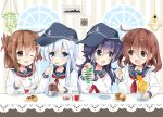 4girls :d ;d akatsuki_(kantai_collection) anchor_symbol bangs bendy_straw black_headwear black_sailor_collar blue_eyes blue_hair blush brown_eyes brown_hair checkerboard_cookie closed_mouth collarbone commentary_request cookie cup drink drinking_glass drinking_straw eye_contact eyebrows_visible_through_hair fang flat_cap folded_ponytail food hair_between_eyes hair_ornament hairclip hat hibiki_(kantai_collection) highres hizuki_yayoi holding holding_cup holding_spoon ice ice_cream ice_cream_float ice_cube ikazuchi_(kantai_collection) inazuma_(kantai_collection) kantai_collection light_bulb long_hair looking_at_another muffin multiple_girls neckerchief one_eye_closed open_mouth purple_hair red_neckwear sailor_collar saucer school_uniform serafuku shirt smile spoon striped table upper_body vertical_stripes violet_eyes white_shirt window