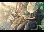 1girl :o ahoge animal bangs black_jacket black_shorts blonde_hair book brown_legwear bug butterfly character_request commentary_request day eyebrows_visible_through_hair grass hair_between_eyes highres hoshizaki_reita insect jacket long_sleeves looking_away looking_down open_book outdoors pantyhose parted_lips reading short_shorts shorts signature sinoalice sitting solo tree twitter_username yellow_eyes