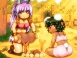 2girls :< ahoge animal_ears armlet ass bandeau bangs black_footwear black_hair boned_meat boots breasts bunny_tail carrot_hair_ornament commentary_request dark_skin eyebrows_visible_through_hair facial_mark fence food food_themed_hair_ornament from_behind grass hair_ornament holding_foot inaba_tewi jewelry kneeling large_breasts long_hair looking_at_viewer looking_back meat midriff multiple_girls navel necklace outdoors parted_lips pink_skirt purple_hair rabbit_ears red_eyes reisen_udongein_inaba shiny shiny_skin shirosato short_hair sidelocks skirt spaghetti_strap stomach tail thighs touhou tree very_long_hair