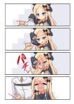 1boy 1girl 4koma :d =_= abigail_williams_(fate/grand_order) afterimage animal arm_up bangs black_bow black_dress black_headwear blonde_hair blue_eyes blush bow cat cat_teaser chaldea_uniform closed_eyes closed_mouth comic commentary crying dress fate/grand_order fate_(series) flying_sweatdrops forehead fujimaru_ritsuka_(male) hair_bow hat heart highres holding jacket long_hair long_sleeves open_mouth orange_bow parted_bangs polka_dot polka_dot_bow scratching shimokirin silent_comic sleeves_past_fingers sleeves_past_wrists smile squatting streaming_tears tears trembling uniform very_long_hair wavy_mouth white_jacket