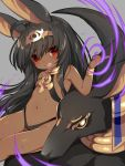 1girl :d ahoge animal animal_ears bangle bangs bare_shoulders black_hair black_leotard blush bracelet center_opening commentary_request dark_skin eyebrows_visible_through_hair fangs grey_background groin hair_between_eyes hand_up head_tilt headpiece highres index_finger_raised jewelry leotard long_hair mofuaki navel open_mouth original red_eyes revealing_clothes short_eyebrows simple_background sitting smile solo thick_eyebrows very_long_hair