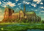 2019 artist_name blue_sky building cathedral clouds cloudy_sky commentary_request day grass huge_filesize nature no_humans notre_dame_de_paris original outdoors overgrown plant post-apocalypse real_world_location scenery sky star_(sky) starry_sky tokyogenso tree