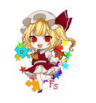 1girl :d ascot bangs blonde_hair blush chibi commentary_request crystal daimaou_ruaeru eyebrows_visible_through_hair fang flandre_scarlet full_body hand_up hat hat_ribbon leg_up looking_at_viewer mary_janes mob_cap one_side_up open_mouth petticoat puffy_short_sleeves puffy_sleeves puzzle_piece red_eyes red_footwear red_ribbon red_skirt red_vest ribbon shoes short_hair short_sleeves simple_background skirt skirt_set smile socks solo standing standing_on_one_leg star touhou vest white_background white_headwear white_legwear wings wrist_cuffs yellow_neckwear