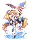 1girl ahoge american_flag azur_lane blonde_hair breasts bright_pupils covered_navel detached_sleeves eldridge_(azur_lane) eyebrows_visible_through_hair facial_mark full_body highres latioss leotard long_hair open_mouth outstretched_arm pink_eyes rigging simple_background small_breasts solo standing standing_on_one_leg tail thigh-highs twintails very_long_hair white_background white_legwear