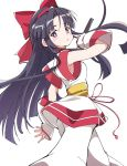 1girl ainu_clothes bangs black_hair blunt_bangs bow closed_mouth eyebrows_visible_through_hair hair_bow ixy long_hair looking_at_viewer nakoruru red_bow reverse_grip samurai_spirits simple_background solo standing violet_eyes white_background