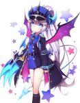 1girl absurdres blush claws cloak crown elsword hat highres horns kiku_(ks5832) long_hair luciela_r._sourcream spike star timoria_(elsword) wings