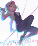 1girl barbell_piercing black_bodysuit blonde_hair blue_eyes bodysuit breasts copyright_name covered_navel eyebrow_piercing gwen_stacy hand_up highres lino_chang looking_at_viewer marvel medium_breasts midair outstretched_arm parted_lips piercing short_hair simple_background skin_tight smile solo spider-gwen spider-man:_into_the_spider-verse spider-man_(series) spider_web_print string white_background