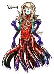 1girl blonde_hair blue_eyes bright_pupils character_name commentary_request dated eldritch_abomination eyebrows_visible_through_hair glowing_mouth highres kotoba_noriaki looking_at_viewer magic:_the_gathering monster_girl multicolored multicolored_skin multiple_arms open_mouth personification signature solo tentacle ulamog_the_infinite_gyre white_background white_pupils