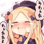 1girl abigail_williams_(fate/grand_order) bangs black_bow black_dress black_headwear blonde_hair blush bow closed_eyes commentary_request crying dress eyebrows_visible_through_hair facing_viewer fate/grand_order fate_(series) forehead hair_bow hat long_hair matsushita_yuu nose_blush open_mouth orange_bow parted_bangs polka_dot polka_dot_bow solo tears translation_request trembling upper_body wavy_mouth