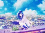 1girl blue_eyes blue_hair blue_legwear blue_skirt blue_sky blurry blurry_background brown_footwear crack dandelion flower long_hair long_sleeves looking_at_viewer original rooftop school_uniform skirt sky socks solo squatting sunday-offline uniform