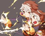 1boy 1girl closed_mouth electricity female_my_unit_(fire_emblem:_kakusei) fire_emblem fire_emblem:_kakusei grey_background long_sleeves male_my_unit_(fire_emblem:_kakusei) my_unit_(fire_emblem:_kakusei) nintendo open_mouth robe short_hair shunrai simple_background twintails white_hair