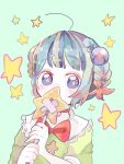 1girl aqua_background bangs blue_eyes blue_hair bow braid collar copyright_request covered_mouth eyebrows_visible_through_hair frilled_collar frills hanataro_(sruvhqkehy1zied) holding looking_at_viewer red_bow short_hair solo star star-shaped_pupils symbol-shaped_pupils upper_body