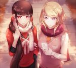 2girls ahoge akamatsu_kaede arm_grab bangs black_hair black_skirt blonde_hair blush breasts cellphone commentary danganronpa eighth_note english_commentary eyebrows_visible_through_hair hair_ornament harukawa_maki highres holding long_hair long_sleeves looking_at_viewer low_twintails medium_breasts mole mole_under_eye multiple_girls musical_note musical_note_hair_ornament necktie new_danganronpa_v3 outdoors phone red_eyes red_scrunchie scarf school_uniform scrunchie serafuku shirt skirt small_breasts smartphone smile solo star sweater_vest tokilos twintails very_long_hair violet_eyes yuri