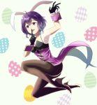 1girl animal_ears black_gloves black_legwear easter_egg egg fire_emblem fire_emblem:_kakusei full_body gloves gzo1206 mark_(female)_(fire_emblem) mark_(fire_emblem) nintendo open_mouth pantyhose purple_hair rabbit_ears see-through short_hair smile solo wrist_cuffs