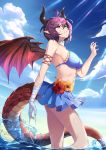 1girl absurdres bandage bandaged_arm bandages bikini blue_bikini blue_sky breasts c_(pixiv3064042) choker closed_mouth clouds day dragon_girl dragon_horns dragon_tail dragon_wings flower granblue_fantasy grea_(shingeki_no_bahamut) highres horns large_breasts looking_at_viewer medium_breasts partially_submerged pointy_ears purple_hair red_eyes shingeki_no_bahamut short_hair sideboob sky solo standing sunlight swimsuit tail water wet white_choker wings