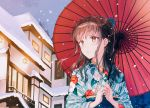 bangs belt blue_belt blue_ribbon brown_eyes brown_hair commentary_request floral_print hair_ribbon hiten_(hitenkei) holding holding_umbrella japanese_clothes japanese_house kimono lantern light long_hair looking_to_the_side night night_sky open_mouth oriental_umbrella original red_umbrella ribbon sky snow snowing umbrella winter yukata
