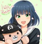 1girl :d black_hair blush character_name dated eyebrows_visible_through_hair green_background green_eyes hachigatsu_no_cinderella_nine happy_birthday highres holding holding_stuffed_animal looking_at_viewer open_mouth petals school_uniform short_hair simple_background smile solo stuffed_animal stuffed_toy suzuki_waka teddy_bear upper_body