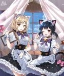2girls ;d animal_ears apron bangs black_hair black_skirt blue_sky blush bow breasts brown_eyes cat_ears cat_girl cat_tail center_frills chair clouds commission curtains day eyebrows_visible_through_hair fang flower frilled_apron frilled_skirt frills holding holding_pencil indoors light_brown_hair long_hair maid_headdress multiple_girls one_eye_closed open_mouth original pencil picture_frame pinb pink_bow pleated_skirt puffy_short_sleeves puffy_sleeves purple_bow red_eyes red_flower red_rose rose shirt short_sleeves signature skirt sky small_breasts smile suspender_skirt suspenders table tail tail_bow tail_raised thigh-highs transparent twintails vase waist_apron waitress white_apron white_legwear white_shirt window wrist_cuffs