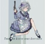1girl apron bow commentary contender_(girls'_frontline) cretaceum dress frilled_dress frilled_legwear frills full_body girls'_frontline grey_hair gun hair_bow handgun holding holding_gun holding_weapon juliet_sleeves long_sleeves looking_at_viewer maid maid_headdress multicolored_hair official_alternate_costume puffy_sleeves purple_hair short_hair solo streaked_hair thompson/center_contender violet_eyes weapon