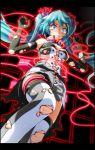 1girl aqua_eyes aqua_hair armpits arms_up bare_shoulders bdsm black_gloves blush bondage bound bound_arms breasts breasts_apart burnt_clothes clenched_teeth elbow_gloves from_below gloves grey_shorts hair_ribbon hatsune_miku high_collar highres knee_up laser long_hair looking_down medium_breasts nijigen_dream_fever_(vocaloid) nose_blush pink_ribbon project_diva_(series) restrained ribbon scared shirt shorts sleeveless sleeveless_shirt solo sweat teeth thigh-highs thigh_strap torn_clothes torn_gloves torn_legwear torn_shirt torn_shorts tsukishiro_saika very_long_hair vocaloid w_arms white_legwear wide-eyed