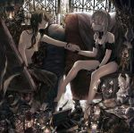 2girls angel_statue armchair atsuki0814 bangs barefoot black_dress black_footwear black_hair black_skirt black_wristband blunt_bangs breasts candle candlestand canvas_(object) chair cleavage cup dress eye_contact eyelashes glasses grey_eyes hair_between_eyes hair_over_breasts hair_over_one_eye hand_holding highres indoors lantern lips long_hair looking_at_another medium_breasts multiple_girls original palette plant round_eyewear shoes silver_hair single_shoe sitting skirt statuette strapless strapless_dress teacup teapot topless window yuri