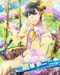 balloons brown_hair character_name closed_eyes dress idolmaster idolmaster_side-m short_hair smile takajo_kyoji
