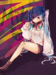 artist_name bandage bandage_on_face bandage_on_knee bangs beige_hoodie beige_sweater black_shorts blue_hair brown_footwear candy clenched_hand collar commentary earpiece earrings food hair_ornament hairclip hand_on_ground hatsune_miku headphones headphones_around_neck highres holding_lollipop hood hooded_sweater hoodie jewelry lollipop long_hair looking_at_viewer mame_kuri multicolored multicolored_background serious shiny shiny_clothes shiny_hair shiny_skin shoes short_shorts shorts sitting sparkling_eyes sweater thighs twintails very_long_hair violet_eyes vocaloid