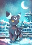 alternate_color commentary_request creatures_(company) crescent_moon game_freak gen_2_pokemon highres manino_(mofuritaionaka) moon night night_sky nintendo no_humans pokemon pokemon_(creature) shiny_pokemon sky solo star_(sky) starry_sky umbreon