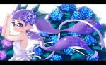 1girl bangs blunt_bangs blurry blurry_background closed_mouth domino_mask dress flower flower_request hair_flower hair_ornament hands_in_hair inkling letterboxed long_hair looking_at_viewer mask mimimi_(echonolog) pointy_ears purple_hair smile solo splatoon_(series) standing tentacle_hair upper_body very_long_hair violet_eyes white_dress wind