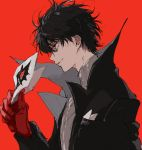 1boy amamiya_ren black_hair closed_mouth eyebrows_visible_through_hair gloves highres jacket male_focus mask p555_sw persona persona_5 red_eyes red_gloves short_hair simple_background smile solo