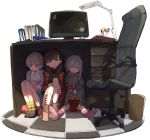 3girls ahoge bangs binder black_footwear blue_eyes blue_skirt blush book brown_eyes brown_footwear brown_hair chair checkered checkered_floor collar collared_shirt commentary desk desk_lamp grey_eyes grey_hair grey_hoodie hairband highres holding holding_book hood hood_down hoodie hoshi_shouko idolmaster idolmaster_cinderella_girls kneehighs lamp light_brown_hair long_sleeves looking_at_viewer looking_down monitor morikubo_nono mouse_(computer) multiple_girls no_shoes office_chair on_floor pink_legwear pink_shirt pleated_skirt polka_dot polka_dot_legwear reading red_hairband sakuma_mayu shade shirt sitting skirt socks suspender_skirt suspenders tile_floor tiles trash_can under_table white_background white_collar white_legwear yellow_legwear yoyoyo_(dxayo)